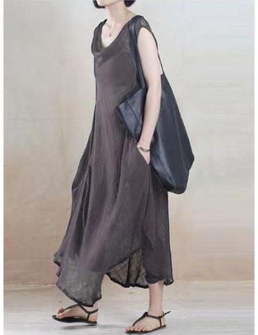 Solid Color Irregular Pile Collar Vintage Dress For Women
