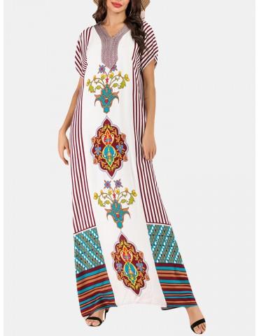 Bohemian Print V-neck Patch Short Sleeve Maxi Dress