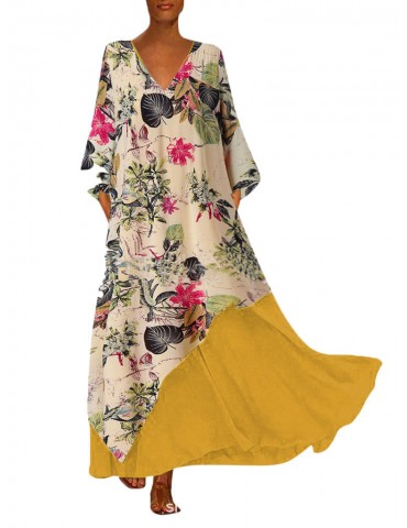 Bohemian Holiday Double-layer V-neck Loose Printed Dress