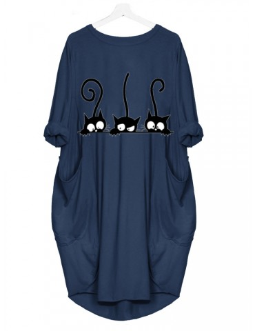 Casual Cats Print Pockets Long Sleeve Dress