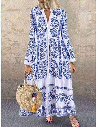 Bohemian Vintage Print Long Sleeve V-neck Ruffle Button Dress