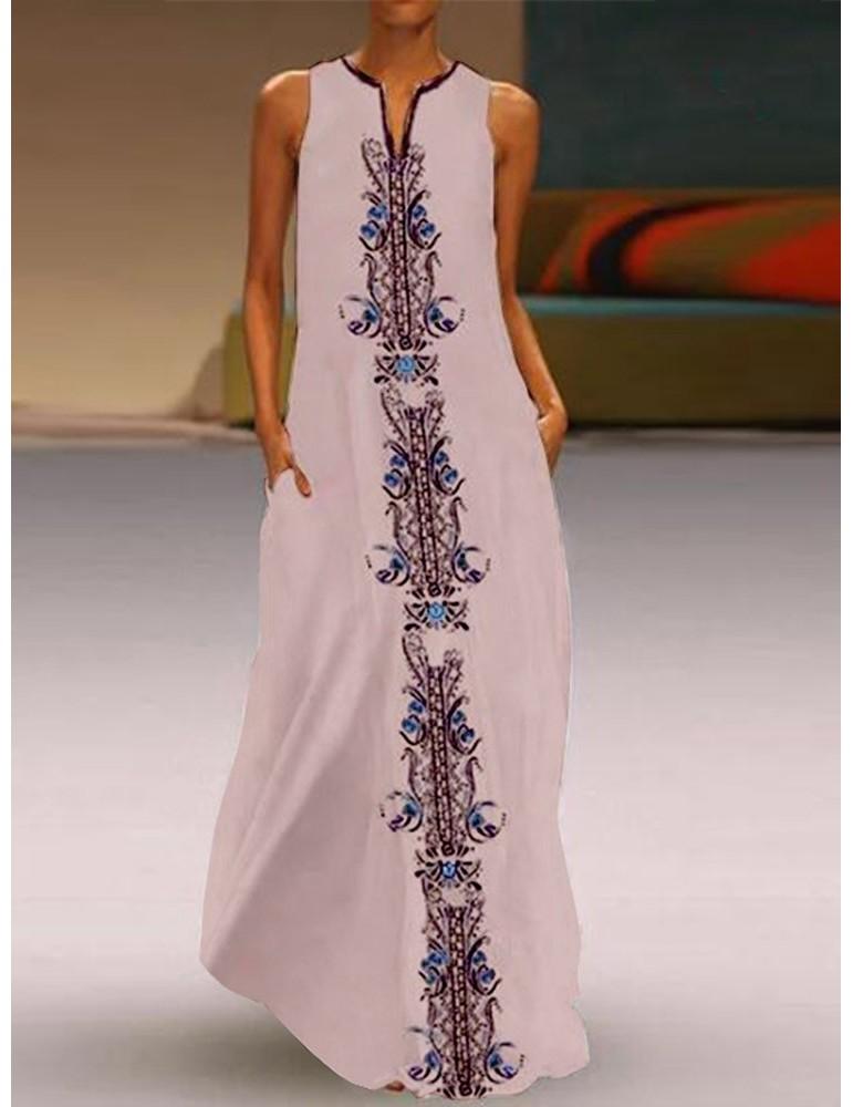 Bohemian Ethnic Print Sleeveless Maxi Dress For Women