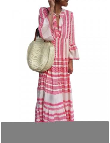 Bohemian Stripe Patchwork Maxi Dress For Women