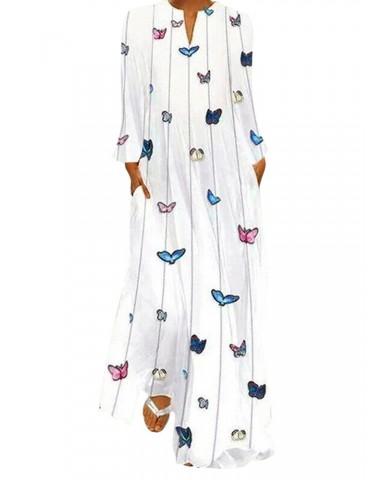 Butterfly Print Long Sleeve Maxi Dress