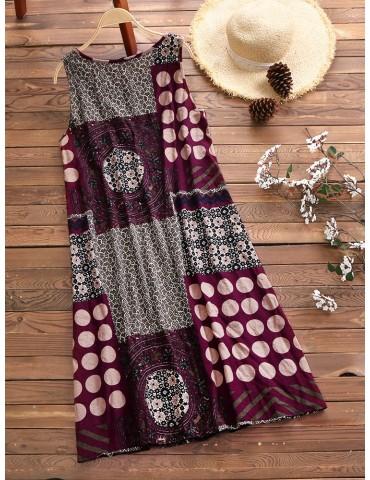 Ethnic Printed Sleeveless Vintage Women Dresses