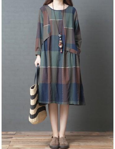 Loose Long Sleeve Multi-color Plaid Print Vintage Dresses