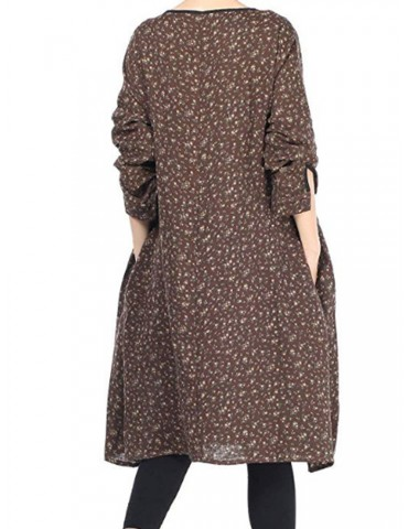 Pockets Pleated Floral Print Long Sleeve Vintage Dress For Women