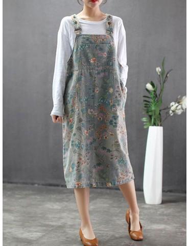 Floral Print Denim Straps Vintage Dress For Women