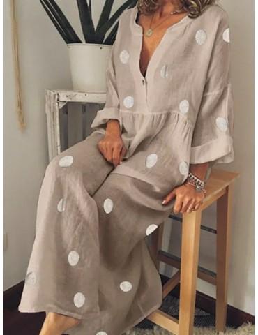 Polka Dot Loose Long Sleeve Maxi Dress For Women