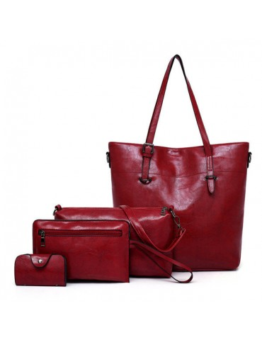4 PCS Women PU Leather Handbag Multi-function Crossbody Bag Vintage Tote Bag