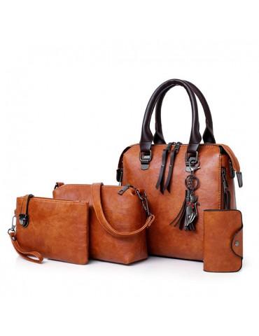 4 PCS Women Faux Leather Handbags Vintage Multi-function Crossbody Bags