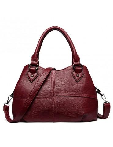 Genuine Leather Plaid Solid Handbag Shoulder Bag