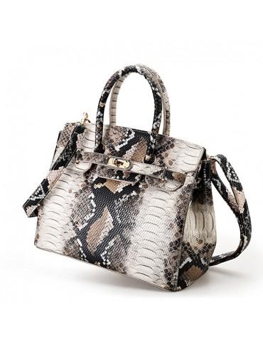 Snake Pattern Faux Leather Handbag Shoulder Bag For Women