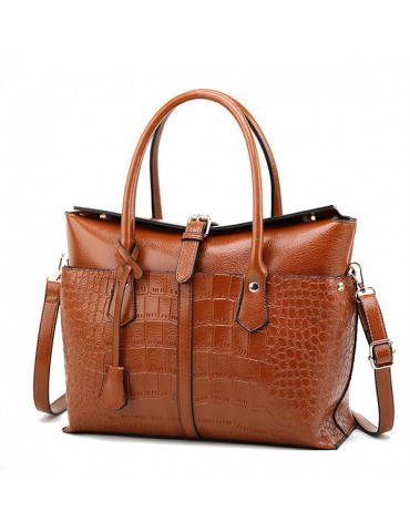 Crocodile Pattern Handbag Solid PU Leather Crossbody Bag For Women