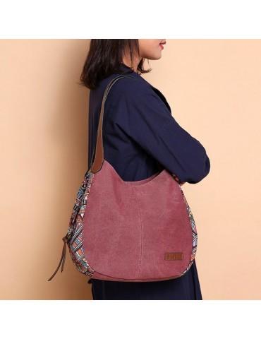 Bohemia Large Capacity Canvas Floral Handbag Shoulder Bag For Women