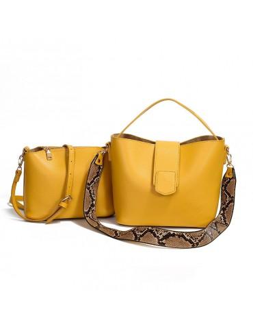 Two-piece Solid Snake Pattern Bucket Handbag Shoulder Bag For Women
