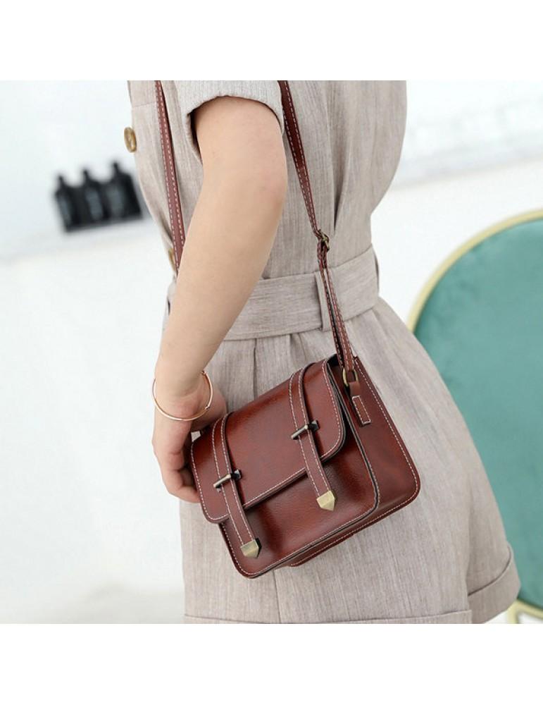 Women Vintage Solid Crossbody Bag Mini Phone Bag