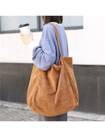 Corduroy Vintage Handbag Large-capacity Shopping Bag