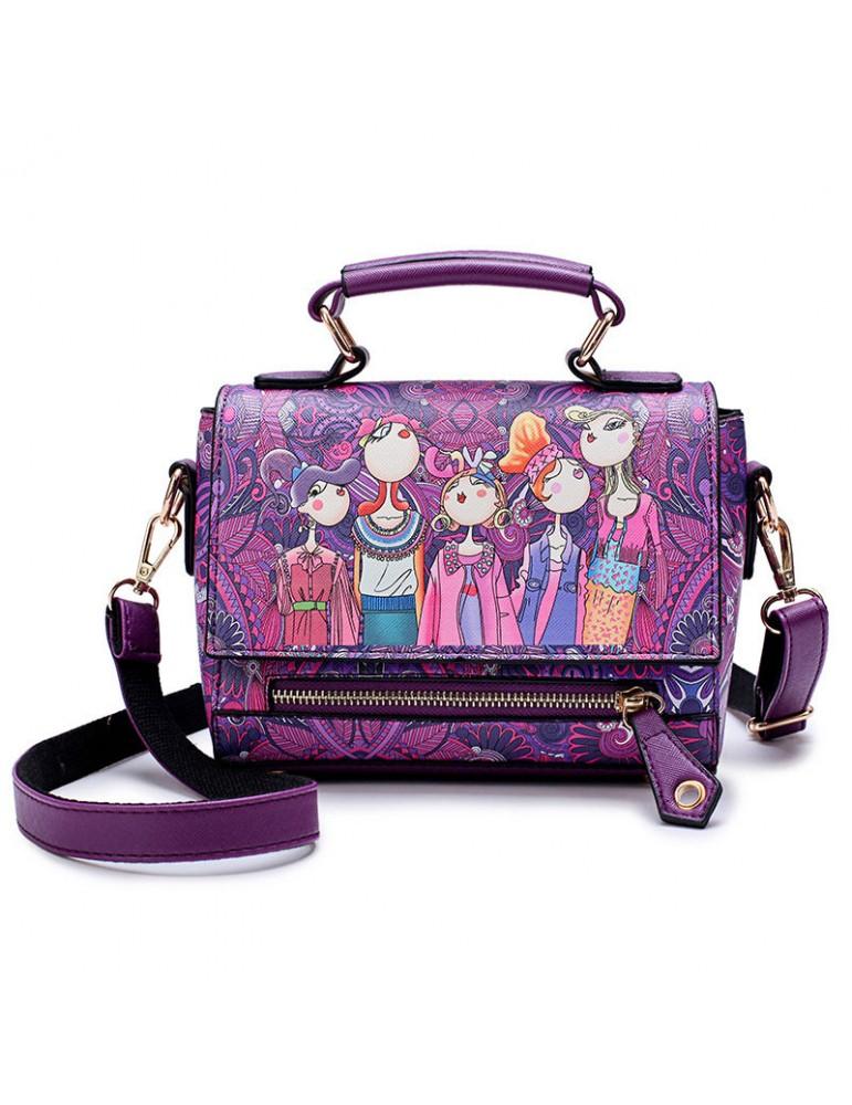 Women Bohemian Forest Series Print Crossbody Bags Large Capacity Handbags