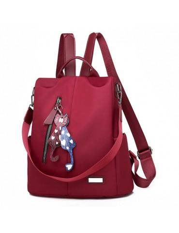 Anti-theft Solid Oxford School Backpack Travel Shoulder Bag