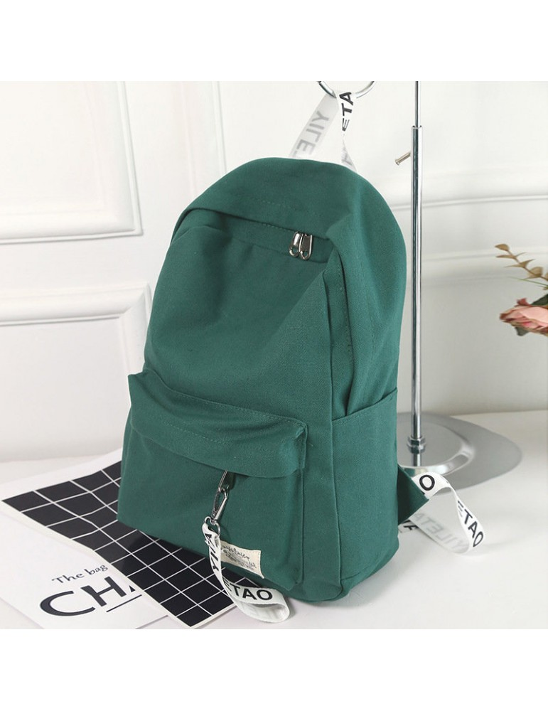 Women's Backpack Canvas Brief Large Capacity Preppy Letter Print Backpack