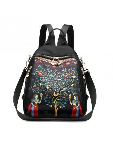 Waterproof Dual-use Elephant Print Multi-function Backpack Nylon Crossbody Bag For Women