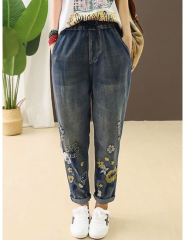 Casual Holes Flowers Embroidery Loose Old Harem Jeans
