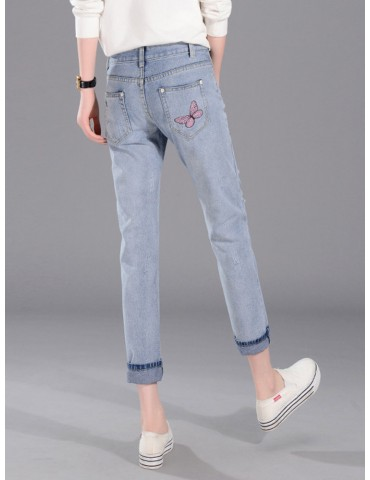 Butterfly Embroidered Hole Harem Jeans