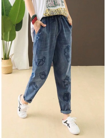 Casual Cat Embroidery Loose Harem Jeans For Women