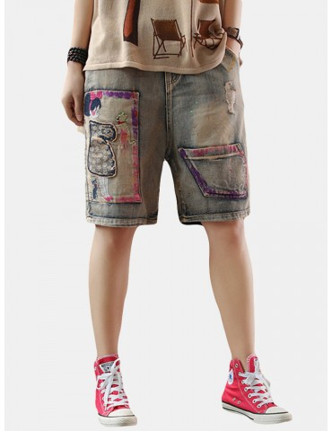 Cartoon Print Patch Casual Short Jeans For Women