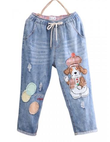 Dog Cartoon Embroidery Printed High Waist Mid-Calf Casual Jeans