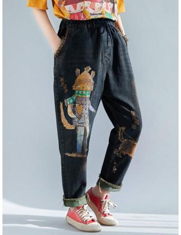 Cartoon Print Elastic Waist Casual Harem Jeans