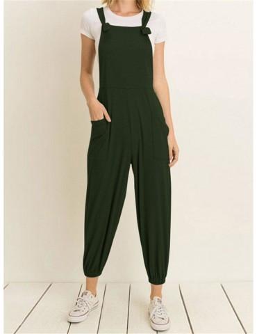 Casual Pockets Jogger Straps Solid Color Jumpsuit