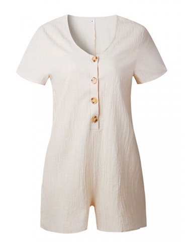 Casual Pure Color Buttons Short Sleeve V-neck Jumpsuits