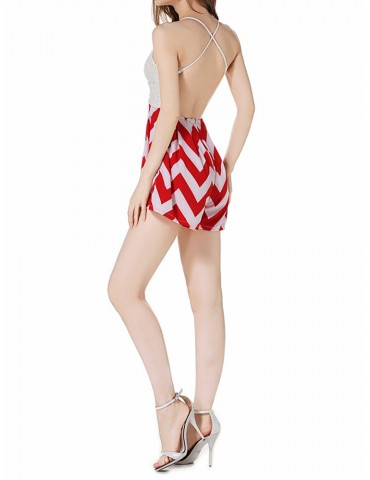 Beautiful Stripe Lace Patchwork Backless V-neck Jumpsuit For Women