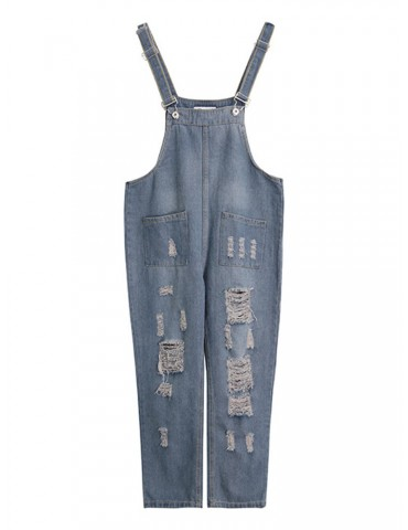 Casual Sleeveless Nine Points Harem Jeans Rompers