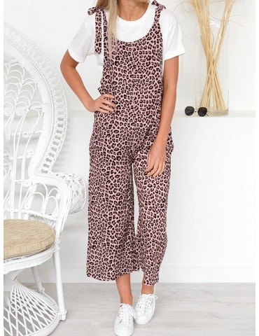 Casual Leopard Straps Pockets Harem Baggy Overall Jumpsuit