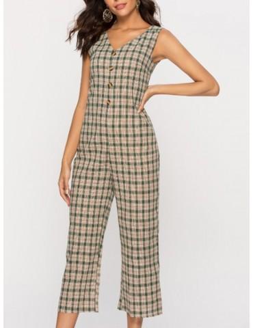 Casual Plaid V-neck Button Sleeveless Nine Pants Jumpsuit