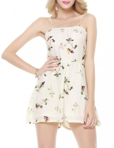 Beautiful Floral Print Backless Camisole Jumpsuit For Women