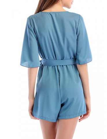 Beautiful Deep V-neck Chiffon Half Sleeve Short Jumpsuits