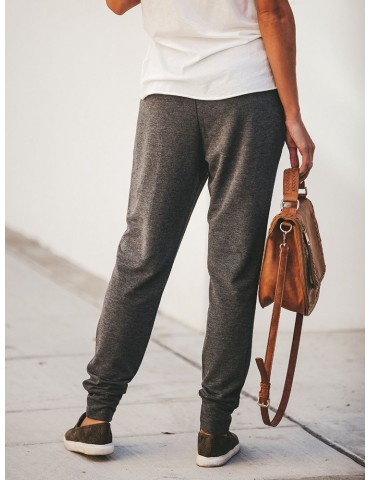 Drawstring Waist Loose Solid Color Casual Women Pants