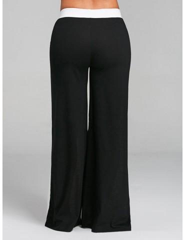 Contrast Color Patchwork High Waist Wide Leg Casual Pants
