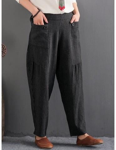 Casual Striped Elastic Waist Women Harem Pants