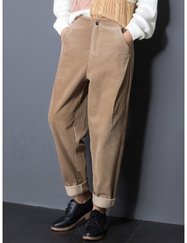 Casual Pure Color Pockets High Waist Pants For Women