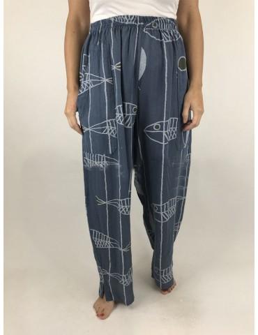 Cartoon Fish Stripe Print Elastic Waist Pants For Women