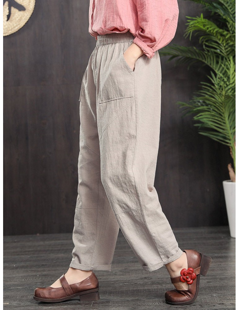 Elastic Waist Side Pockets Solid Color Casual Carrot Pants
