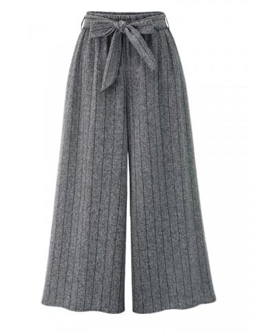 Casual Loose Striped Elastic Waist Women Wide Leg Pants