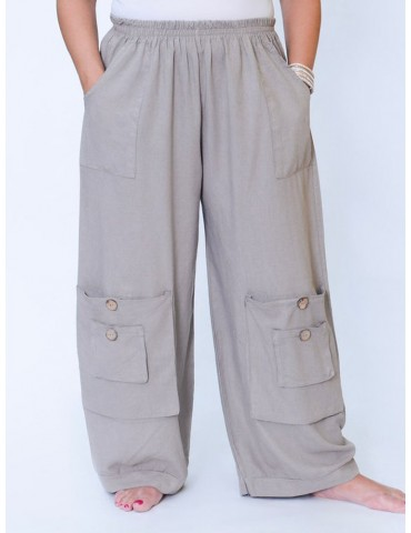 Casual Solid Color Elastic Waist Cargo Pants With Big Pockets