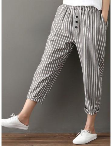 Buttons Stripe Elastic Waist Pockets Casual Harem Pants