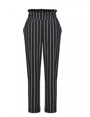 Casual Striped High Waist Harem Pants